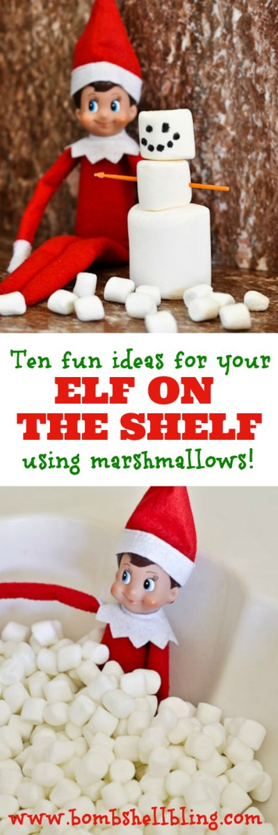 Elf on the Shelf Ideas Using Marshmallows